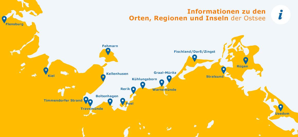 Ostsee Deutschland Karte.Die Orte Und Regionen Der Ostsee